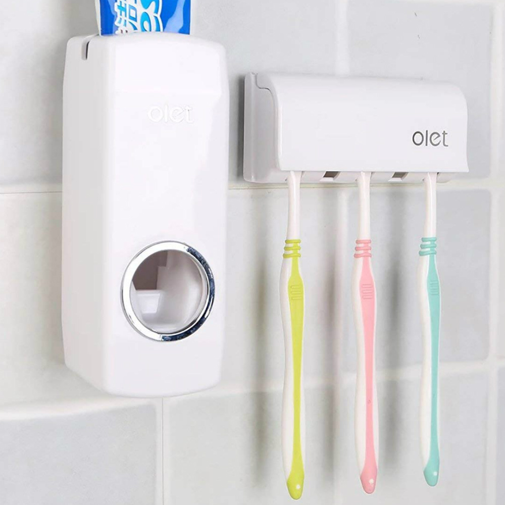 Wall Mounted Automatic Toothpaste Dispenser and Toothbrush Holder