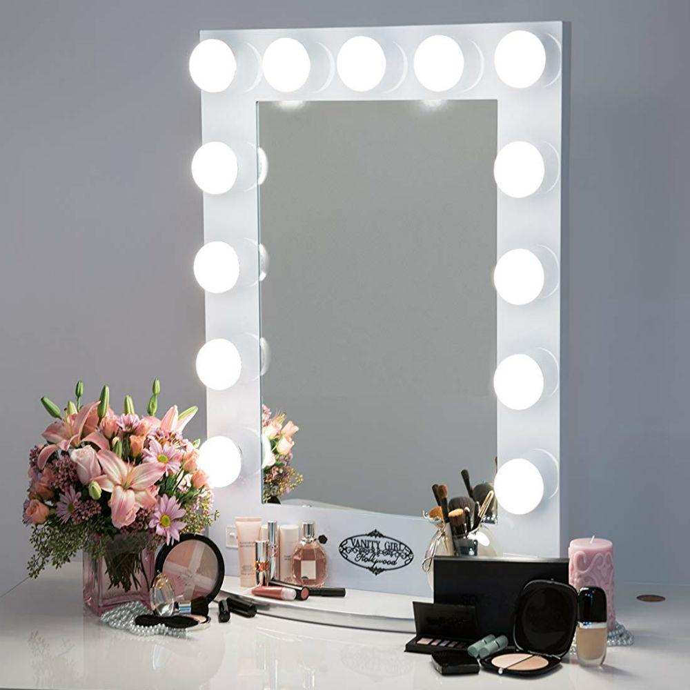 White vanity girl Broadway lighted mirror