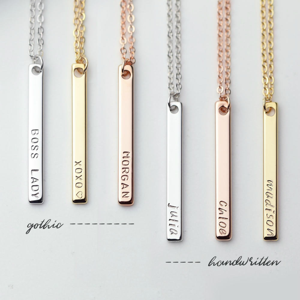 d4f60f0bce1a3 The Personalized Name Bar Necklace For Women