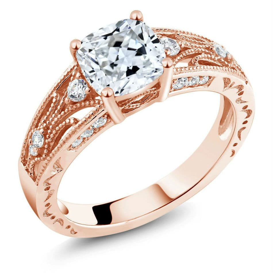 White 925 Rose Gold Plated Silver Ring