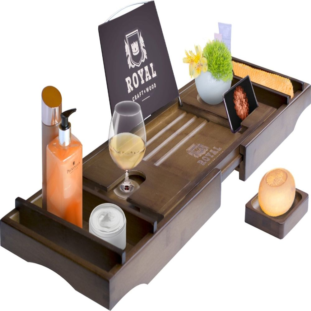 This Bamboo Bathtub Caddy Tray Holds Everything You Need For A Good Bath