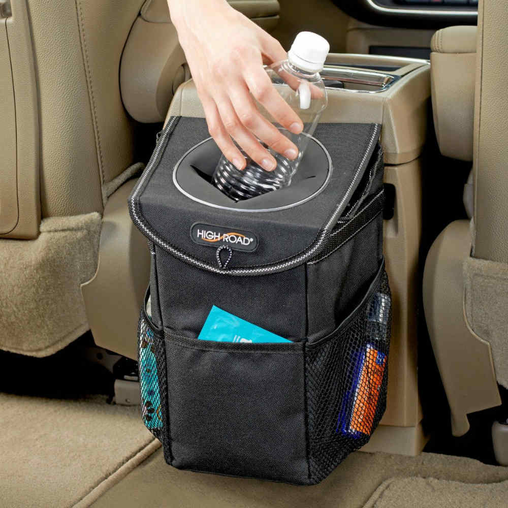 Car Trash Can With Lid And Storage Pockets