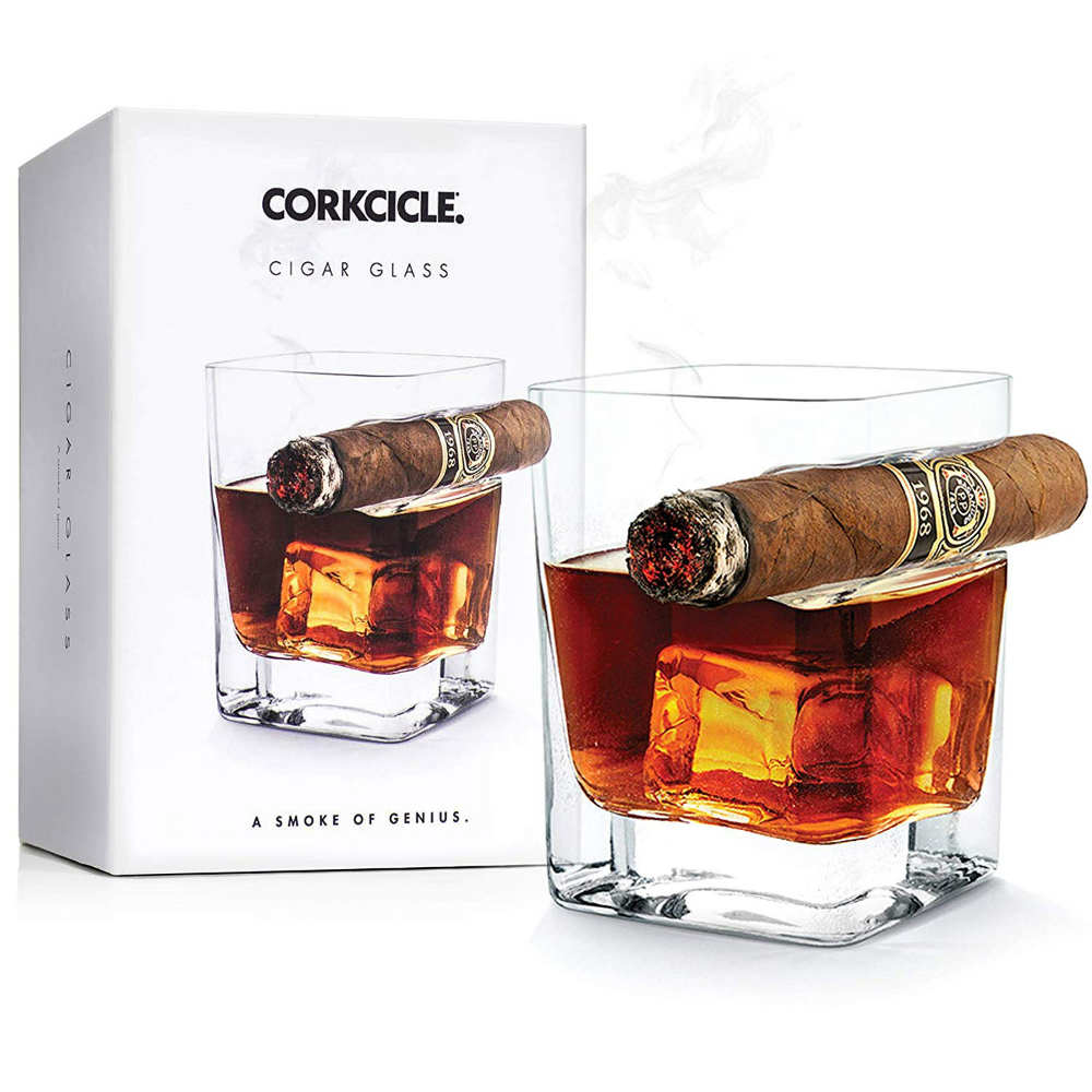 Cigar Glass with Built-In Cigar Rest