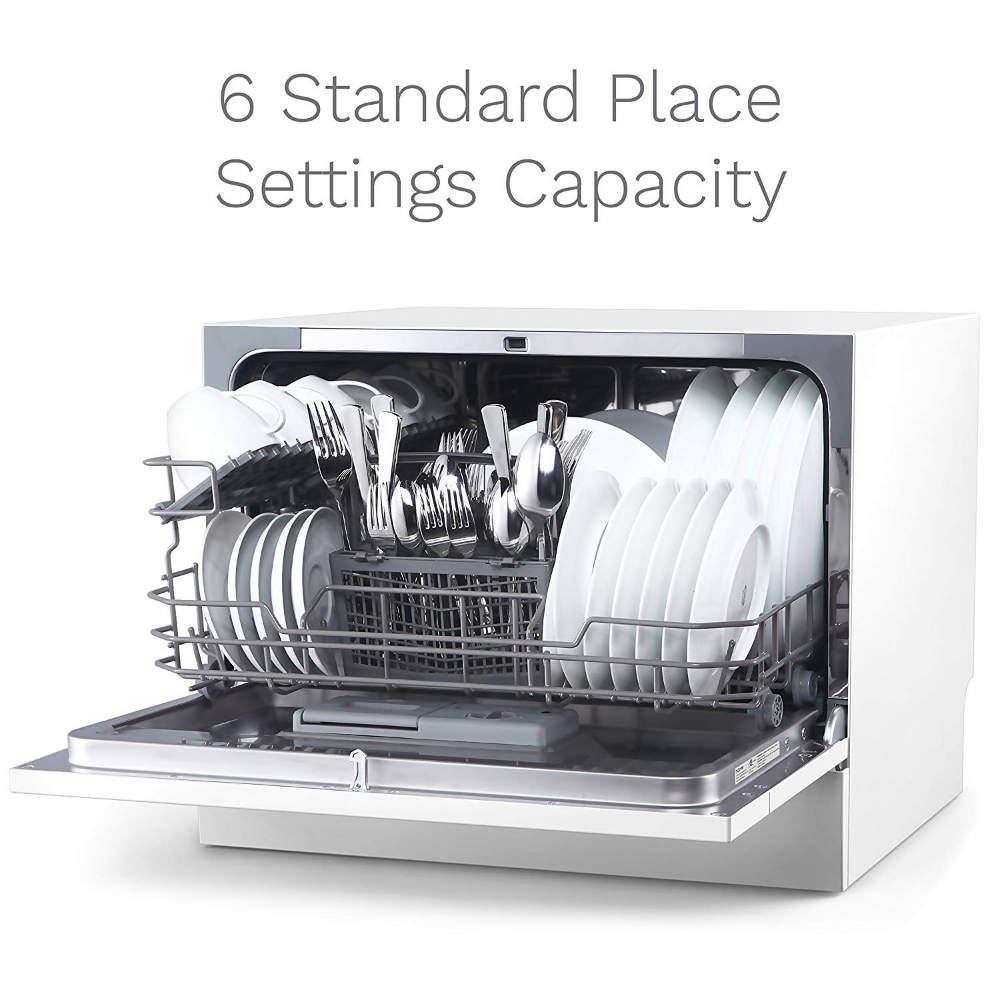 Compact Countertop Dishwasher with Stainless Steel Interior