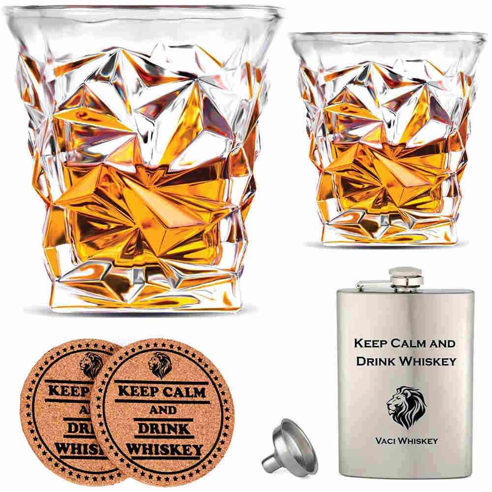 Crystal Whiskey Glasses with Stainless Steel Flask