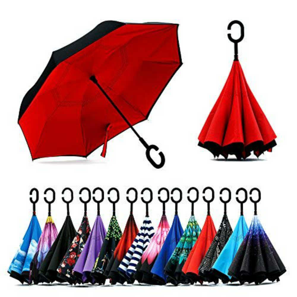 Double Layer Inverted Umbrella with Comfortable Handle and Control