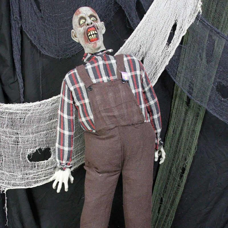 Halloween haunters speaking farmer zombie prop