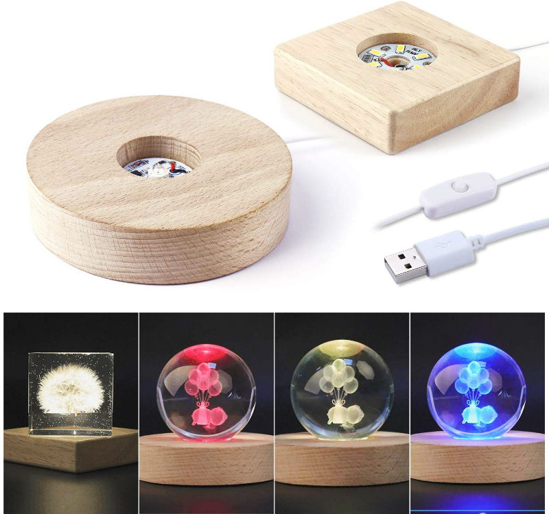 wooden lighted base stand