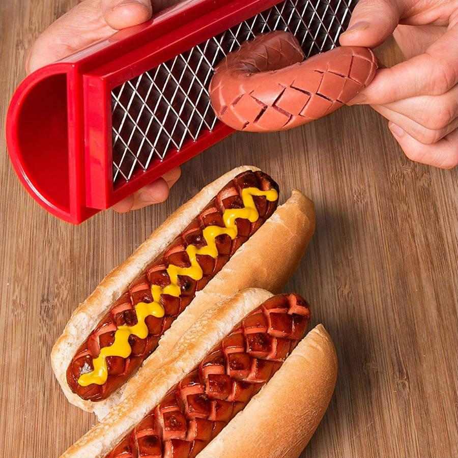 Hot Dog Slicing Tool for Crispy Seasoned Hot Dogs