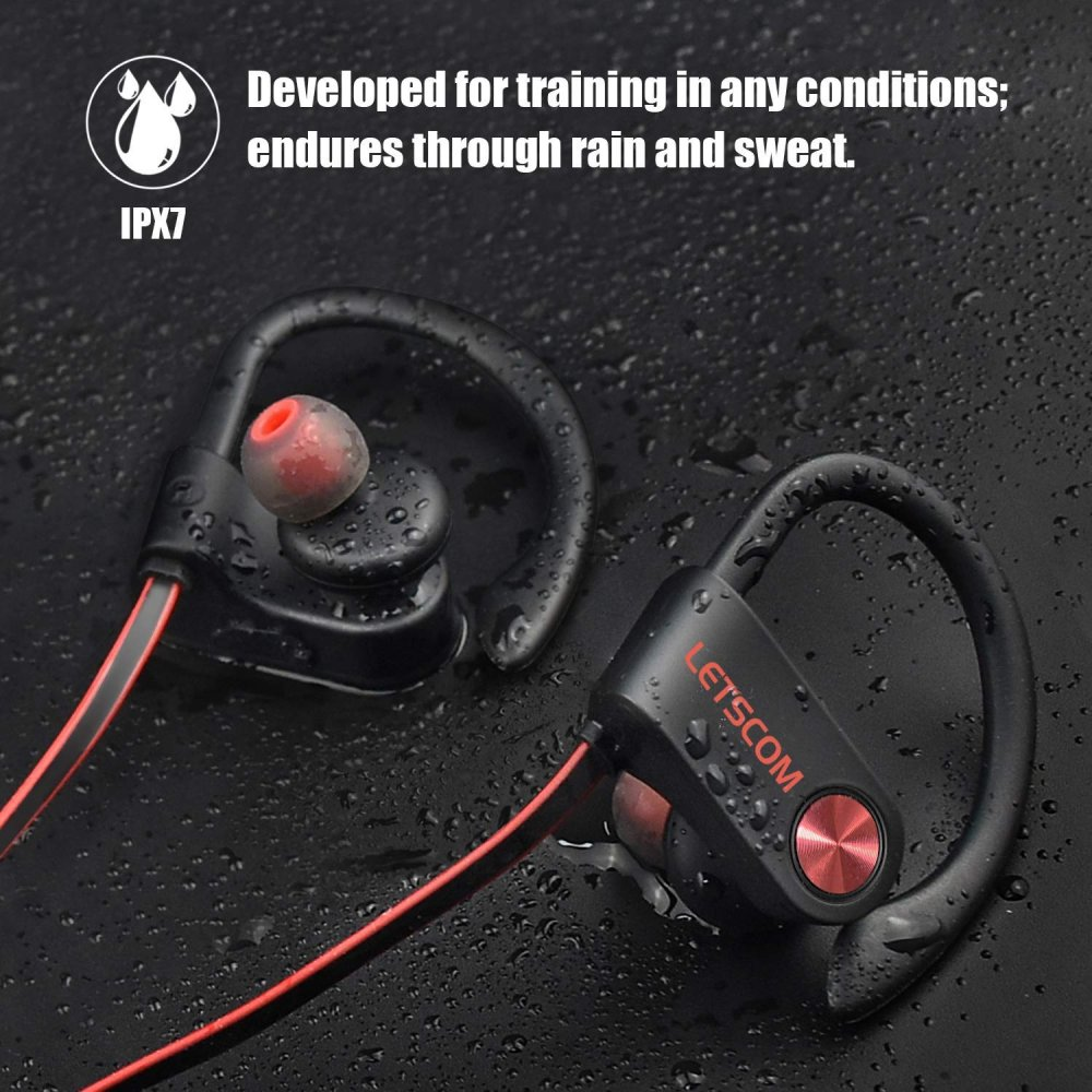 LETSCOM Bluetooth Sweat-proof Headphones IPX7 Waterproof