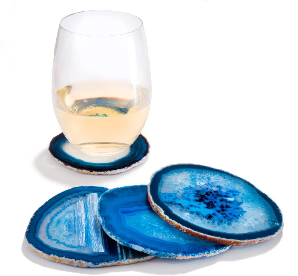 Amethya Sliced agate coasters